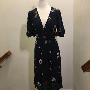 Reformation Deep V High Slit Floral Dress  S